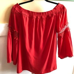 Chico's Blouse Sz 1 coral off shoulder or on lace